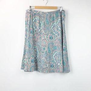 Talbots Pastel Paisley Print Knit Skirt